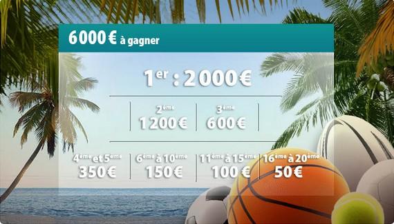 le top 20 des parieurs se partageront 6000€