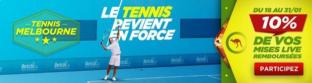 Jusqueà 100 € remboursés sur Betclic à l'occasion de l'Open d'Australie