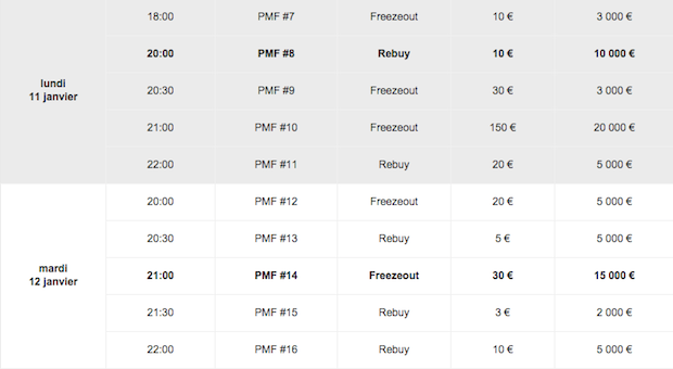Le calendrier du Poker Master Festival