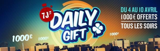 Les Daily Gift sur Betclic poker du 4 au 10 avril