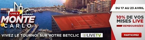 10% de Cashback avec Betclic sur vos mises Live pour le tournoi de Monte-Carlo