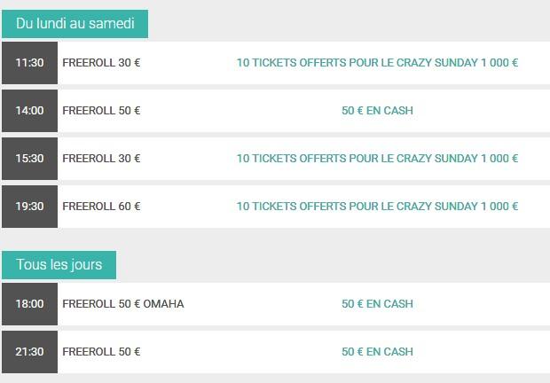 Betclic Poker : le calendrier des freerolls From Zero
