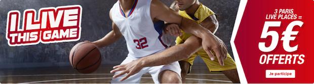 5€ à gagner en pariant sur les phases finales du championnat US de basket avec Betclic en avril 2018