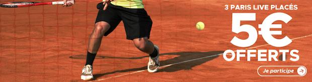 Prono gratuit de 5€ offert lors de Rolland Garros 2018 avec Betclic