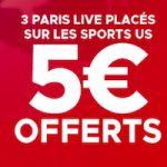 Freebet de 5€ offerts sur Betlcic si vous misez sur les sports US