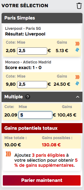 Ticket de paris combinés Betclic
