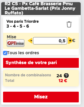 Ticket d'un prono Trio sur Betclic turf